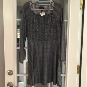 Derek Heart Checked Dress Rouched Bodice NWT